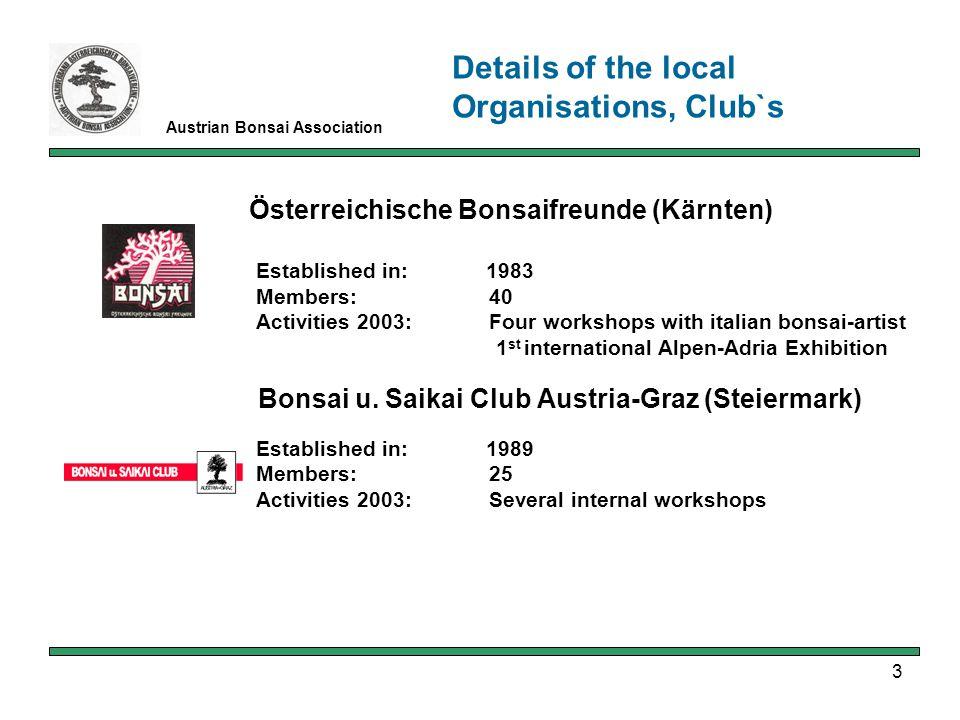 3 Austrian Bonsai Association Österreichische Bonsaifreunde (Kärnten) Established in: 1983 Members: 40 Activities 2003: Four workshops with italian bonsai-artist 1 st international Alpen-Adria Exhibition Bonsai u.