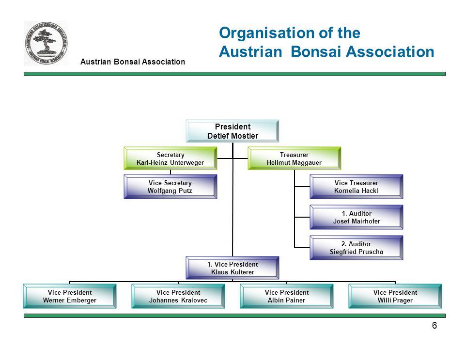 6 Austrian Bonsai Association Organisation of the Austrian Bonsai Association President Detlef Mostler 1.