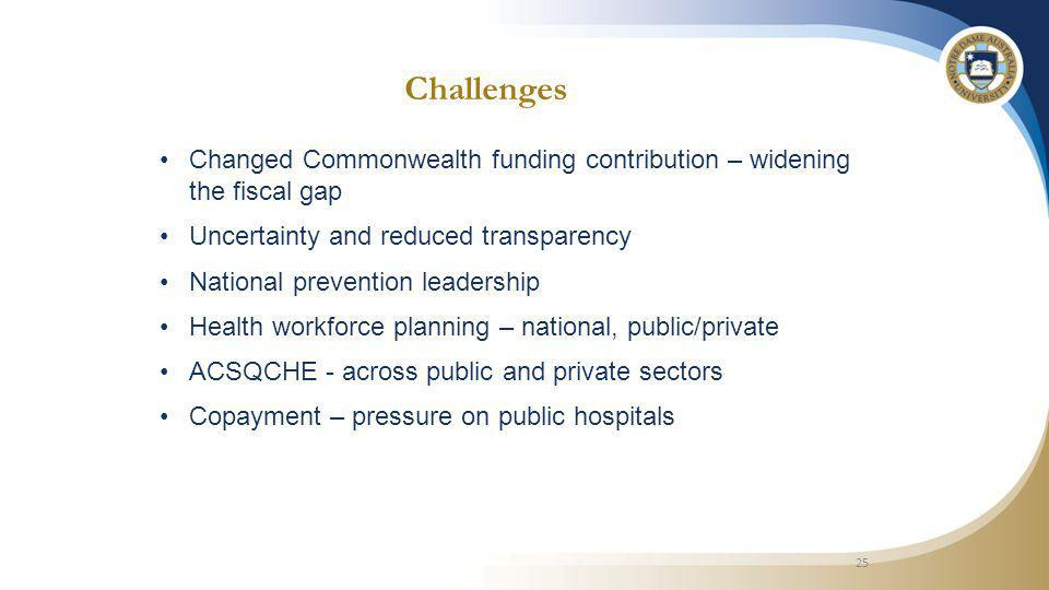 Challenges Changed Commonwealth funding contribution – widening the fiscal gap Uncertainty and reduced transparency National prevention leadership Health workforce planning – national, public/private ACSQCHE - across public and private sectors Copayment – pressure on public hospitals 25