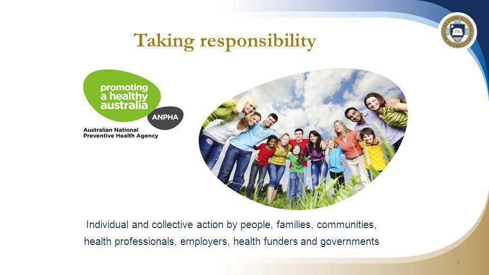 Taking responsibility 7 ANPHA abolished Tobacco, alcohol and obesity reduced investment Healthy kids, healthy communities, healthy workplaces NPA ceased Healthy Communities Report WHO social determinants