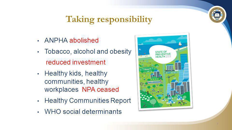 References Australian National Preventive Health Agency – www.anpha.gov.au/internet/anpha/publishing.nsf/Content/state-of-prev-health-2013 www.anpha.gov.au/internet/anpha/publishing.nsf/Content/state-of-prev-health-2013 Australian Bureau of Statistics - www.abs.gov.auwww.abs.gov.au Australian Institute of Health and Welfare - www.aihw.gov.auwww.aihw.gov.au National Disability Insurance Scheme - www.disabilitycareaustralia.gov.auwww.disabilitycareaustralia.gov.au National Heath and Hospitals Reform Commission Report - www.health.gov.au/internet/nhhrc/publishing.nsf/content/nhhrc-report www.health.gov.au/internet/nhhrc/publishing.nsf/content/nhhrc-report NSW Budget Papers 2014-15 – Budget Paper No.