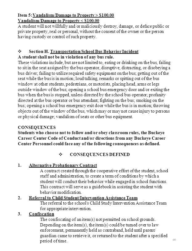 Item 5:Vandalism/Damage to Property > $100.00 Vandalism/Damage to Property < $100.00 A student will not willfully and/or maliciously destroy, damage,