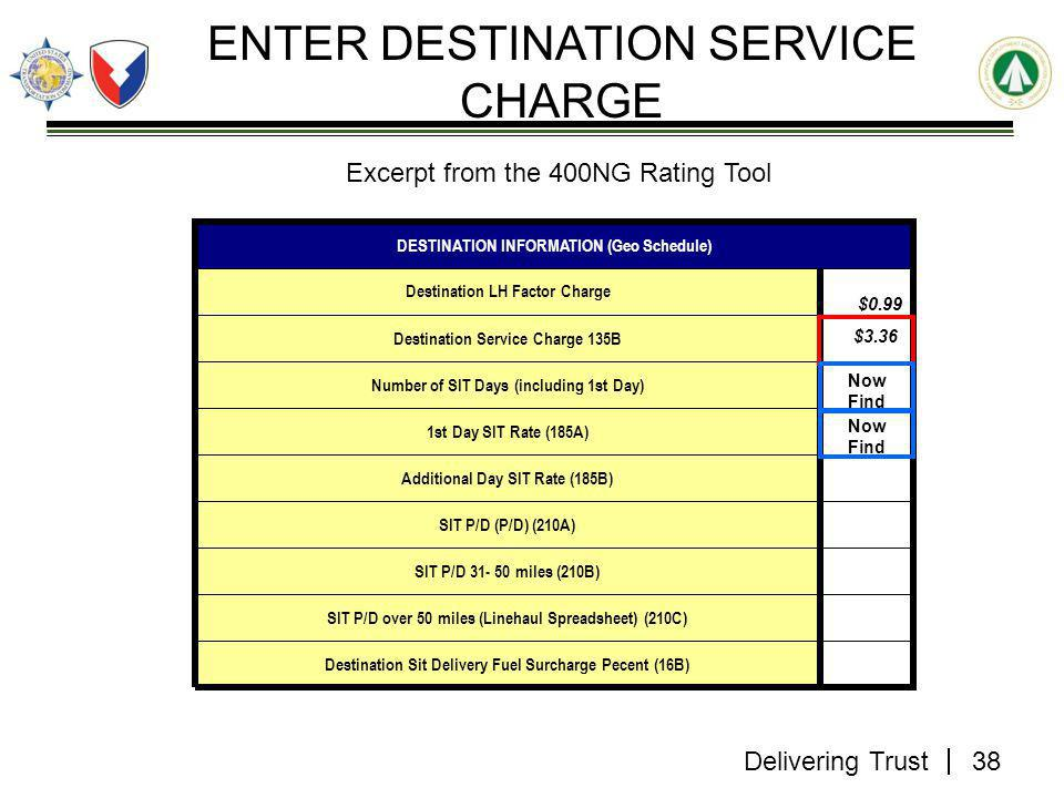 Delivering Trust ENTER DESTINATION SERVICE CHARGE Destination Sit Delivery Fuel Surcharge Pecent (16B) SIT P/D over 50 miles (Linehaul Spreadsheet) (210C) SIT P/D 31- 50 miles (210B) SIT P/D (P/D) (210A) Additional Day SIT Rate (185B) 1st Day SIT Rate (185A) Number of SIT Days (including 1st Day) Destination Service Charge 135B Destination LH Factor Charge DESTINATION INFORMATION (Geo Schedule) $0.99 38 $3.36 Now Find Excerpt from the 400NG Rating Tool