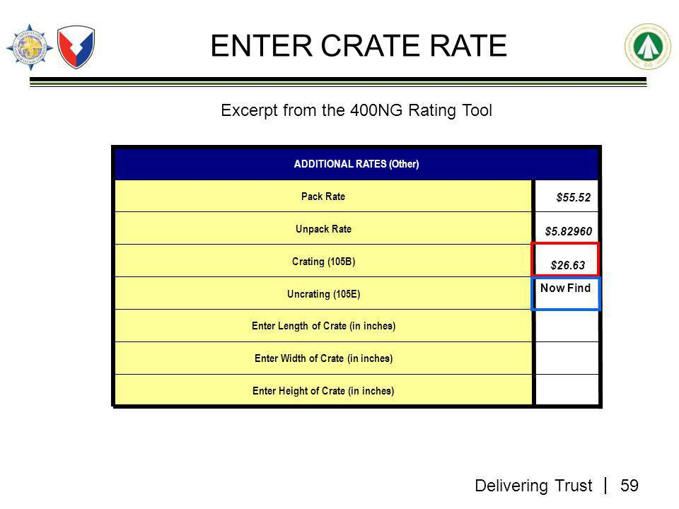 Delivering Trust ENTER CRATE RATE $55.52 $5.82960 $26.63 Enter Height of Crate (in inches) Enter Width of Crate (in inches) Enter Length of Crate (in inches) Uncrating (105E) Crating (105B) Unpack Rate Pack Rate ADDITIONAL RATES (Other) 59 Now Find Excerpt from the 400NG Rating Tool