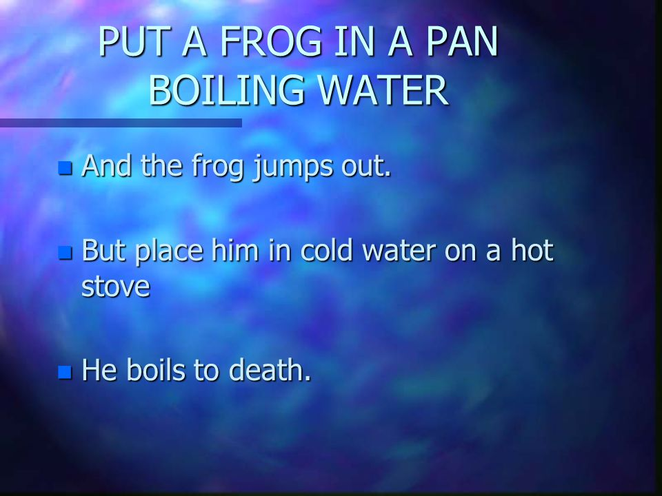 PUT A FROG IN A PAN BOILING WATER n And the frog jumps out.
