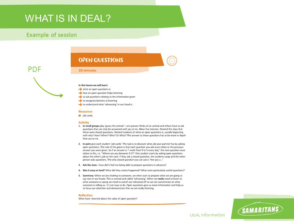 DEAL Information WHAT IS IN DEAL Example of session PDF