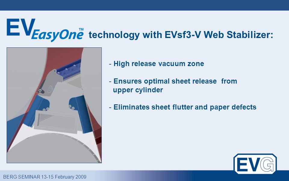 BERG SEMINAR 13-15 February 2009 technology with EVsf3-V Web Stabilizer: - High release vacuum zone - Ensures optimal sheet release from upper cylinder - Eliminates sheet flutter and paper defects