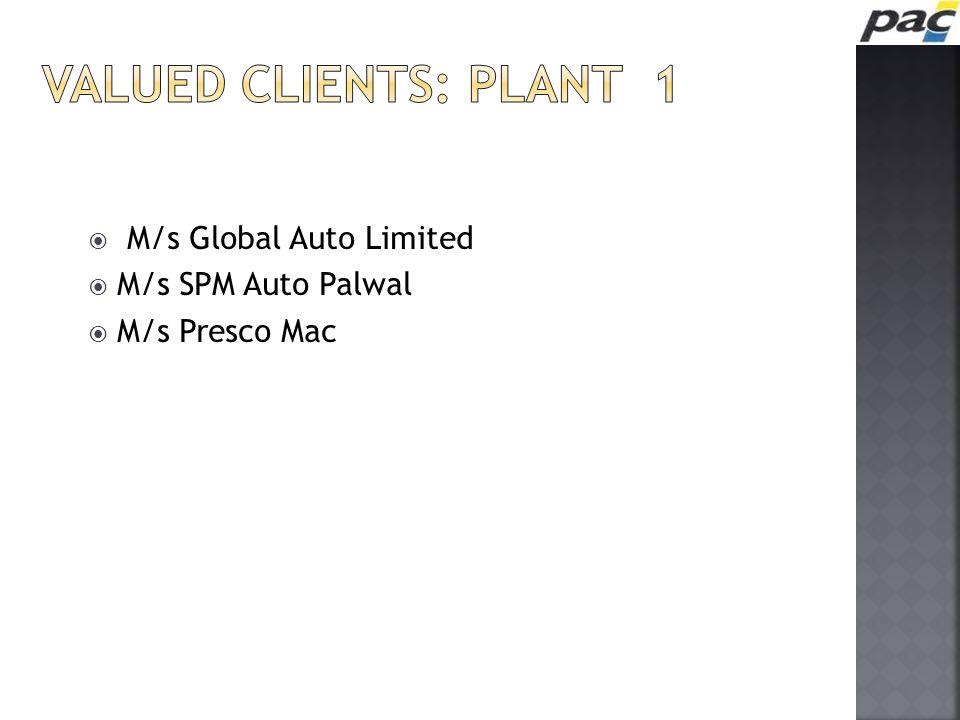  M/s Global Auto Limited  M/s SPM Auto Palwal  M/s Presco Mac