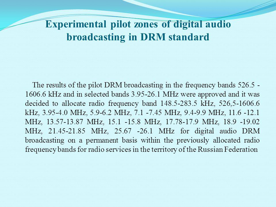 Organizations, operating DRM networks and organizations, producing equipment Broadcasters Telecom operators Manufacturers of receivers Manufacturers of transmitters VORRTRN (Transmitters) Sarapul Radio plant RIPR (Russian institute for Power Radiobuilding) National Russian Radio IRB (Transmitters) Daimond TRС (Efir) MDI networks