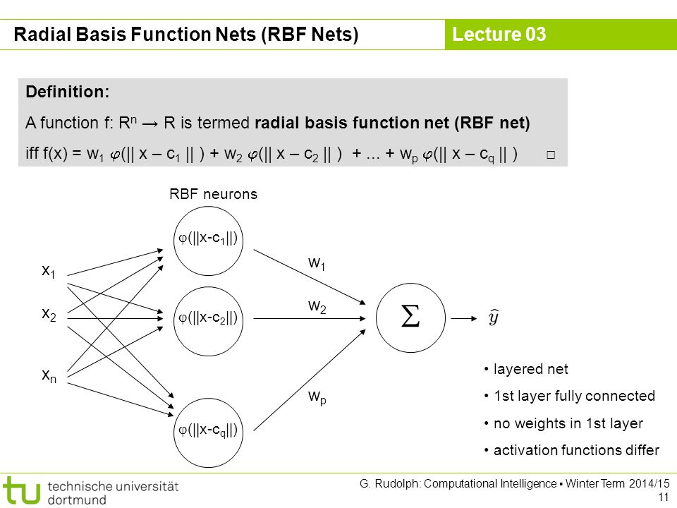 Lecture 03 G. Rudolph: Computational Intelligence ▪ Winter Term 2014/15 11 Radial Basis Function Nets (RBF Nets) Definition: A function f: R n → R is