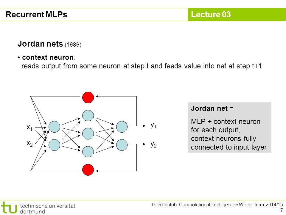 Lecture 03 G. Rudolph: Computational Intelligence ▪ Winter Term 2014/15 7 Recurrent MLPs Jordan nets (1986) context neuron: reads output from some neu