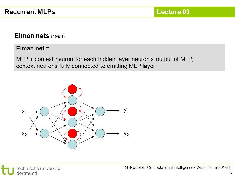 Lecture 03 G. Rudolph: Computational Intelligence ▪ Winter Term 2014/15 8 Recurrent MLPs Elman nets (1990) Elman net = MLP + context neuron for each h