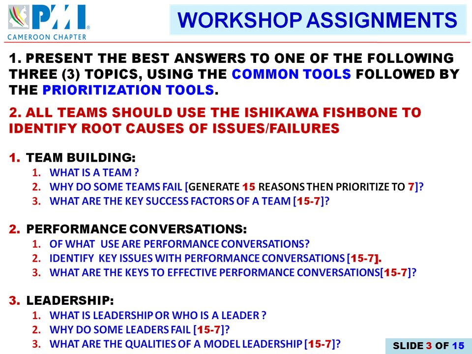 2.DRILL IN GROUP DECISION-MAKING TECHNIQUES 3.GAIN INSIGHTS INTO EFFECTIVE PERFORMANCE DIALOGS 1.CULTIVATE TEAM SPIRIT OBJECTIVES 4.SPREAD THE QUALITIES OF MODEL LEADERSHIP SLIDE 2 OF 15