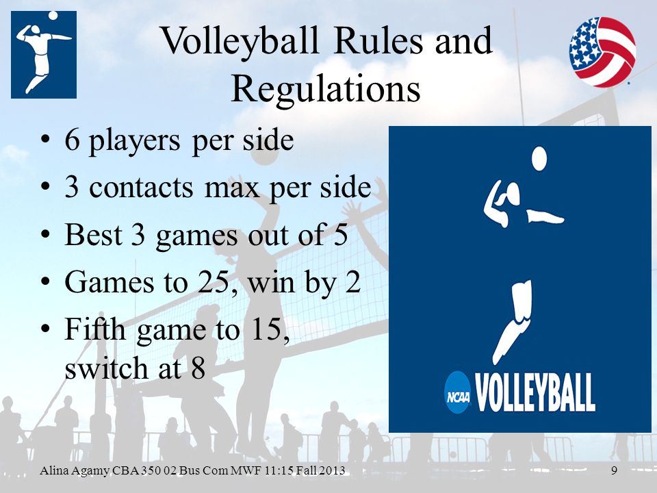 Volleyball Rules and Regulations 6 players per side 3 contacts max per side Best 3 games out of 5 Games to 25, win by 2 Fifth game to 15, switch at 8 Alina Agamy CBA Bus Com MWF 11:15 Fall 20139