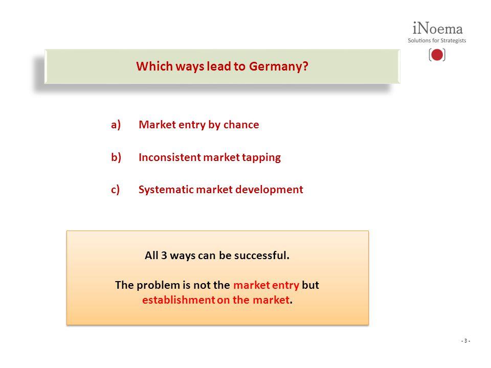 - 3 - Was wir noch für Sie tun können Which ways lead to Germany.