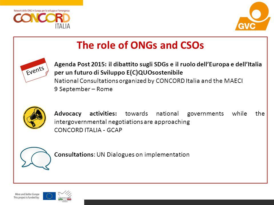 The role of ONGs and CSOs Agenda Post 2015: il dibattito sugli SDGs e il ruolo dell'Europa e dell'Italia per un futuro di Sviluppo E(C)QUOsostenibile