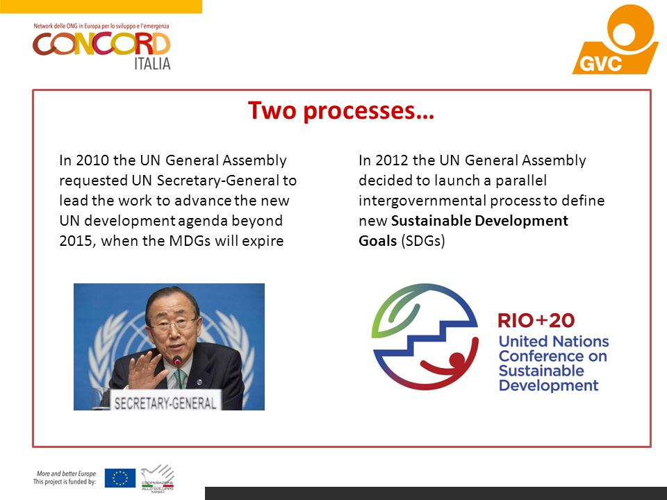 Two processes… In 2010 the UN General Assembly requested UN Secretary-General to lead the work to advance the new UN development agenda beyond 2015, w