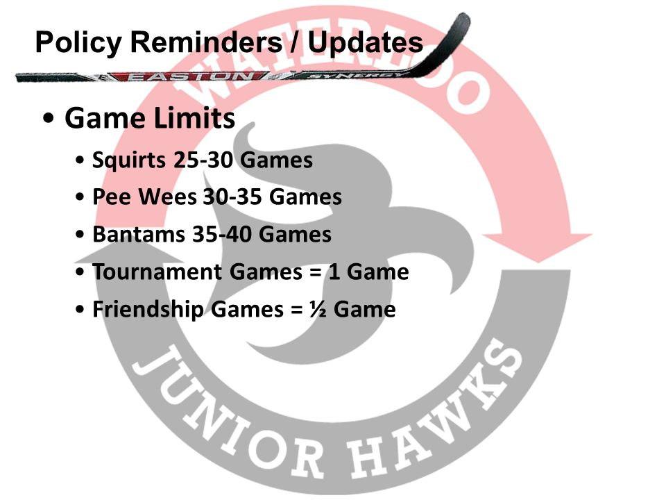 Policy Reminders / Updates Game Limits Squirts 25-30 Games Pee Wees 30-35 Games Bantams 35-40 Games Tournament Games = 1 Game Friendship Games = ½ Gam