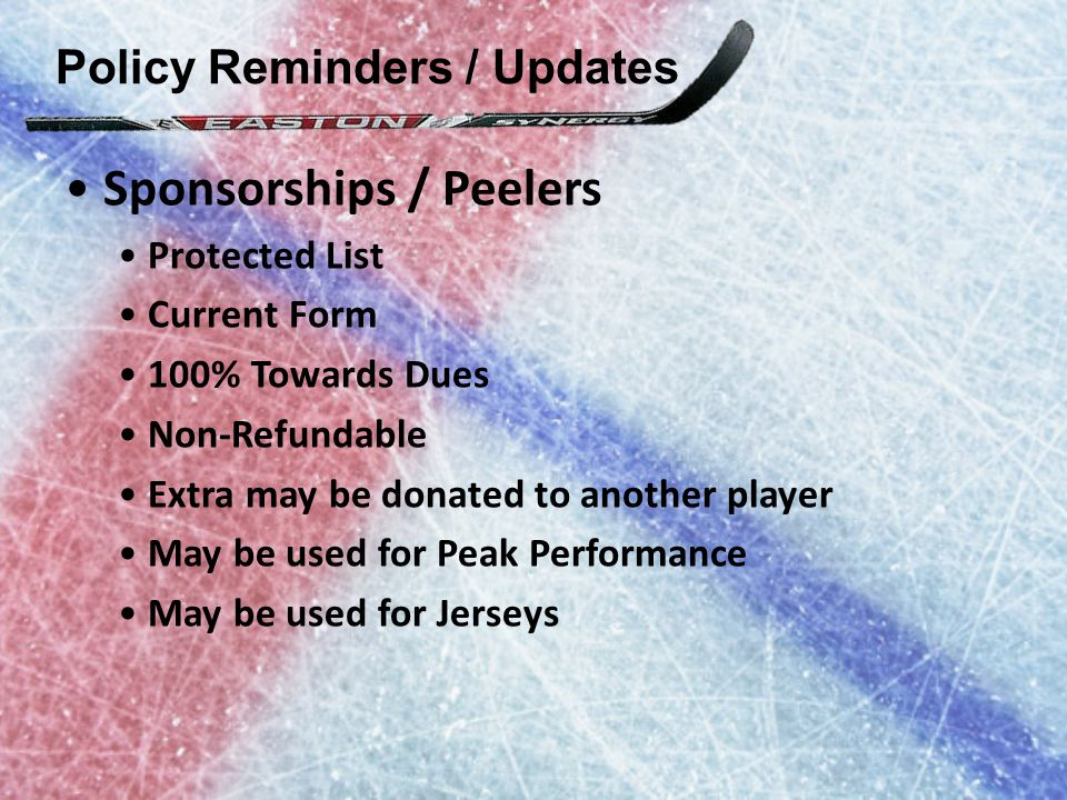 Policy Reminders / Updates Sponsorships / Peelers Protected List Current Form 100% Towards Dues Non-Refundable Extra may be donated to another player