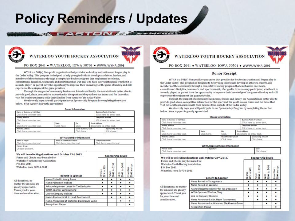 Policy Reminders / Updates
