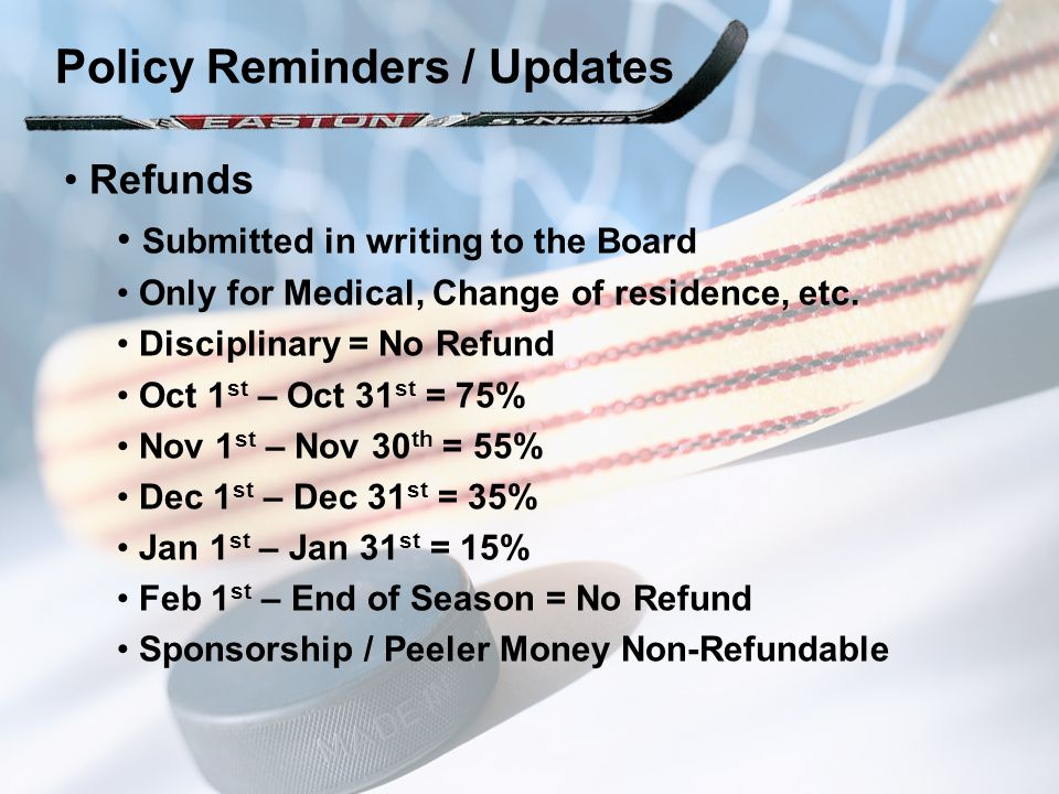 Refunds Submitted in writing to the Board Only for Medical, Change of residence, etc. Disciplinary = No Refund Oct 1 st – Oct 31 st = 75% Nov 1 st – N