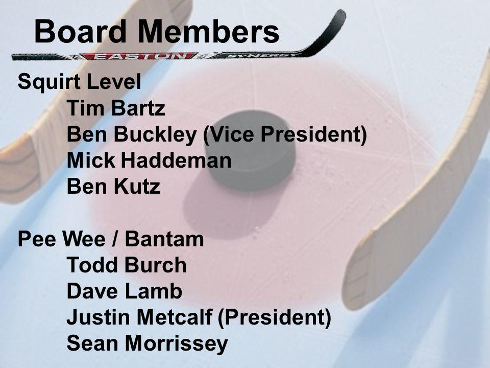 Board Members Squirt Level Tim Bartz Ben Buckley (Vice President) Mick Haddeman Ben Kutz Pee Wee / Bantam Todd Burch Dave Lamb Justin Metcalf (President) Sean Morrissey