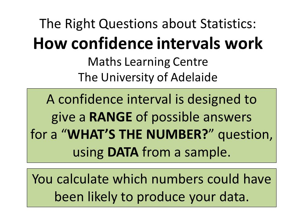 The Right Questions about Statistics: How confidence intervals work Maths Learning Centre The University of Adelaide A confidence interval is designed to give a RANGE of possible answers for a WHAT'S THE NUMBER question, using DATA from a sample.
