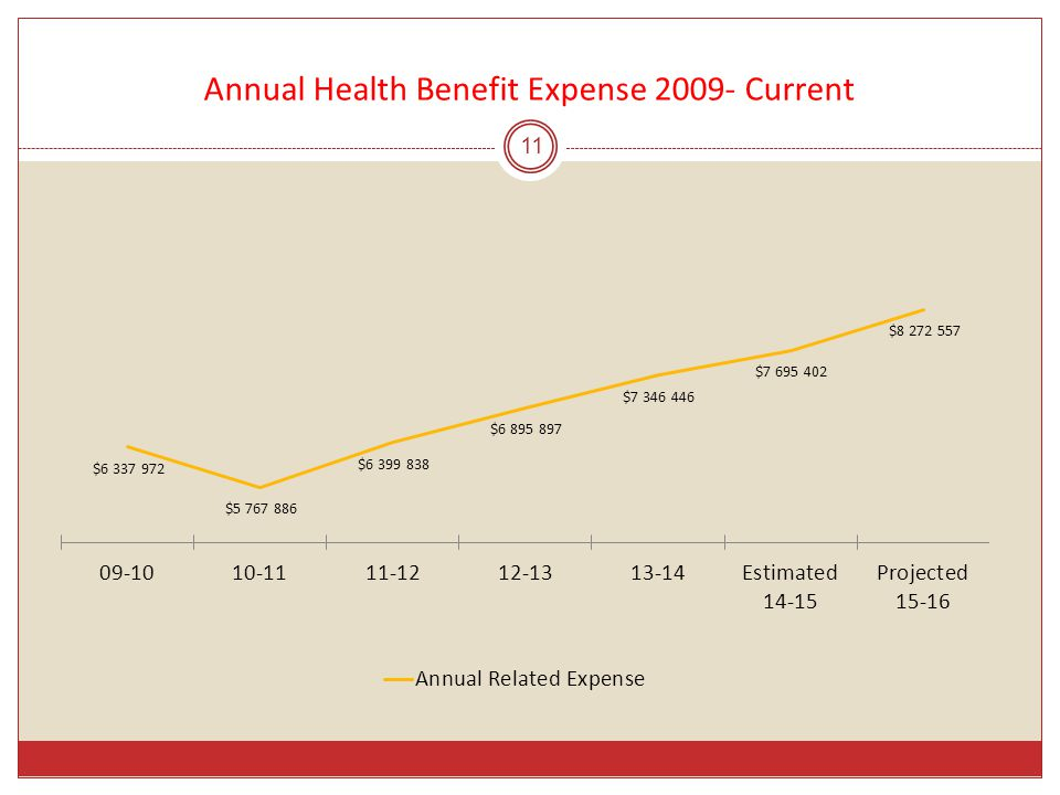 Annual Health Benefit Expense 2009- Current 11