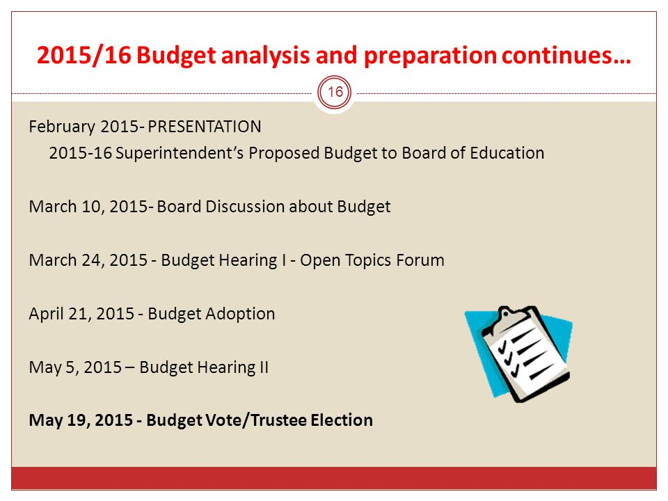 2015/16 Budget analysis and preparation continues… 16 February 2015- PRESENTATION 2015-16 Superintendent's Proposed Budget to Board of Education March 10, 2015- Board Discussion about Budget March 24, 2015 - Budget Hearing I - Open Topics Forum April 21, 2015 - Budget Adoption May 5, 2015 – Budget Hearing II May 19, 2015 - Budget Vote/Trustee Election