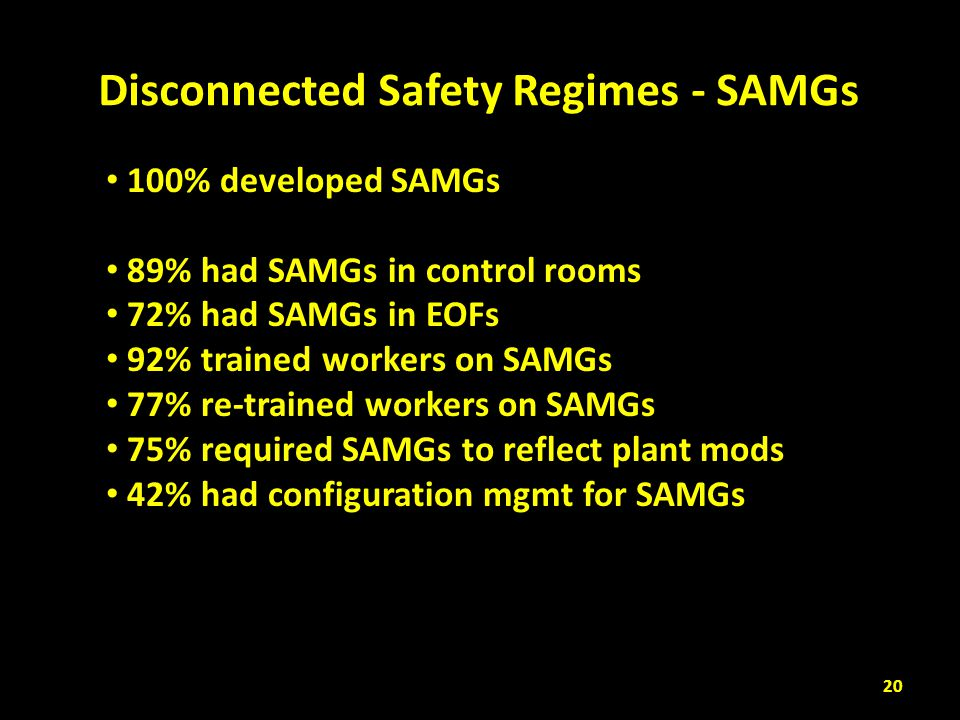 100% developed SAMGs 89% had SAMGs in control rooms 72% had SAMGs in EOFs 92% trained workers on SAMGs 77% re-trained workers on SAMGs 75% required SA