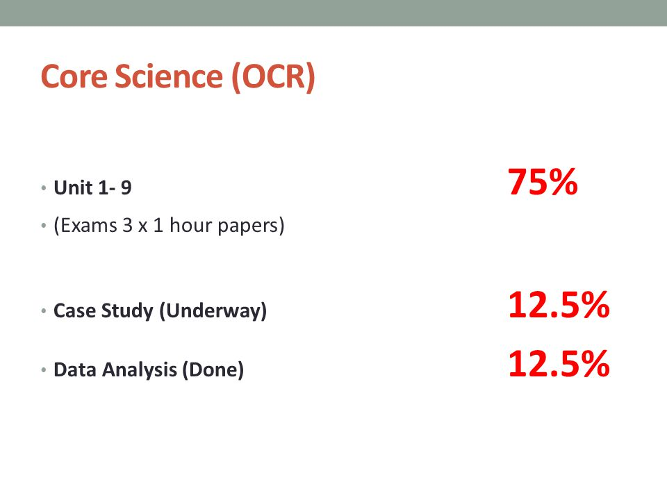 Core Science (OCR) Unit 1- 9 75% (Exams 3 x 1 hour papers) Case Study (Underway) 12.5% Data Analysis (Done) 12.5%