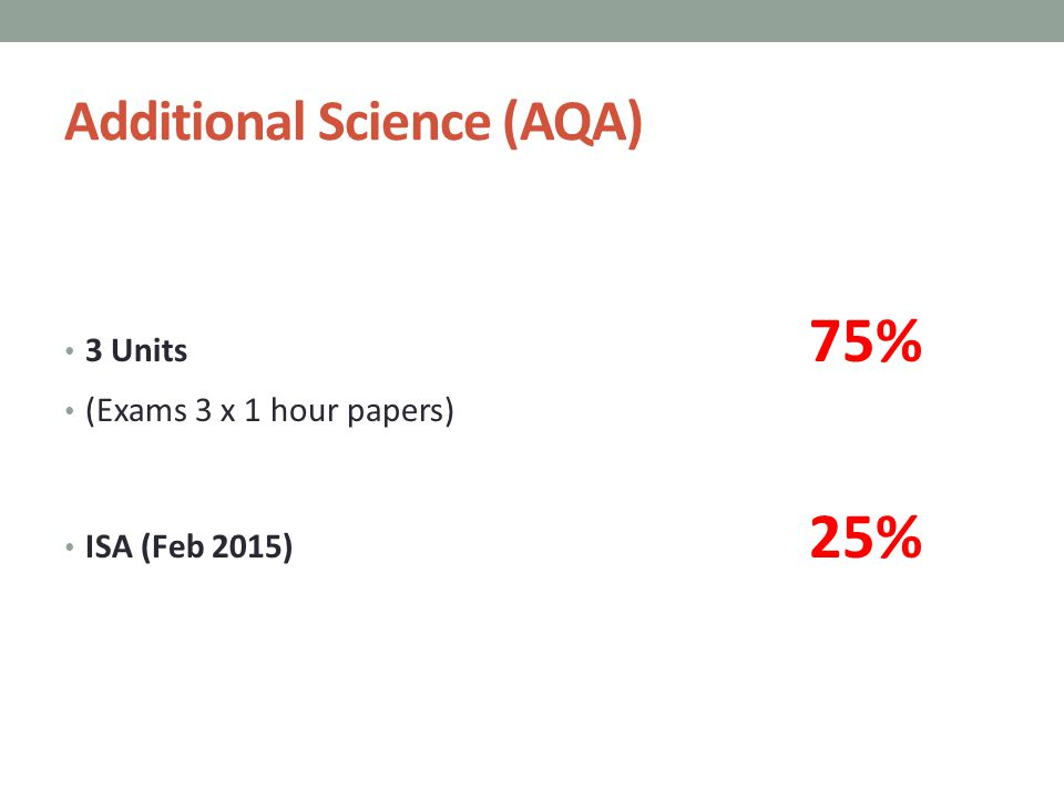 Additional Science (AQA) 3 Units 75% (Exams 3 x 1 hour papers) ISA (Feb 2015) 25%