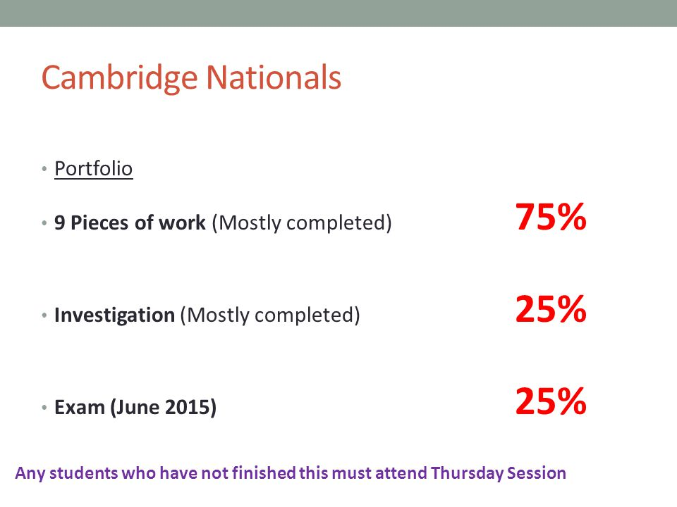 Cambridge Nationals Portfolio 9 Pieces of work (Mostly completed) 75% Investigation (Mostly completed) 25% Exam (June 2015) 25% Any students who have not finished this must attend Thursday Session