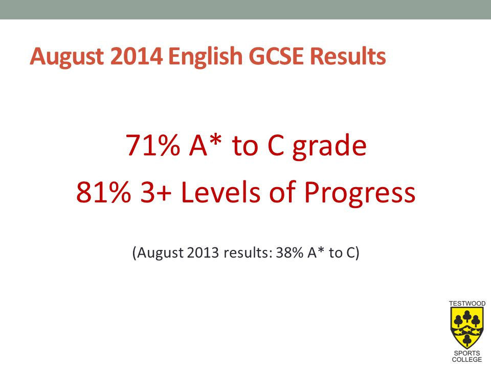 August 2014 English Literature GCSE Results 92% A* to C grade 88% 3+ Levels of Progress (August 2013 results: 82% A* to C)