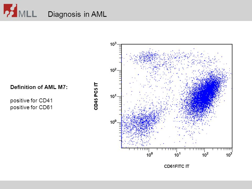 Diagnosis in AML Definition of AML M7: positive for CD41 positive for CD61