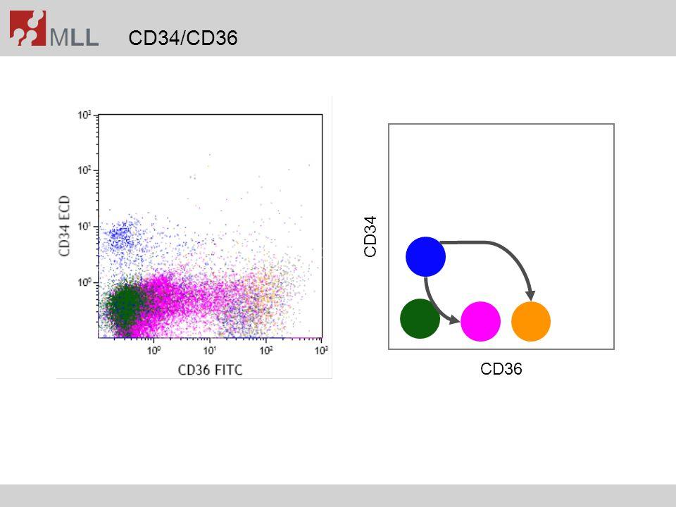 Improvement of MRD assessment by 5-color-staining Voskova et al., Leuk Lymphoma 2007;48(1):80-88 FITCPEECDPC5PC7 CD64CD87CD4CD56CD45 CD65CD2CD34CD13CD45 CD9HLA-DRCD34CD33CD45 CD11bCD116CD34CD117CD45 CD34CD56CD19CD33CD45 CD15CD7CD34CD33CD45 CD36CD61CD14CD235aCD45 CD47.1CD14CD13CD45 CD38CD135CD34CD90CD45 CD15CD133CD34CD117CD45 MPOLFCD34CD33CD45 TdTCD22CD3CD79aCD45