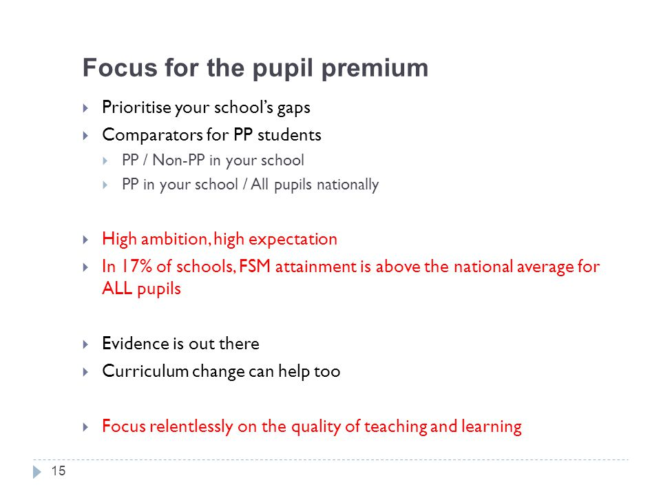 Focus for the pupil premium  Prioritise your school's gaps  Comparators for PP students  PP / Non-PP in your school  PP in your school / All pupils nationally  High ambition, high expectation  In 17% of schools, FSM attainment is above the national average for ALL pupils  Evidence is out there  Curriculum change can help too  Focus relentlessly on the quality of teaching and learning 15