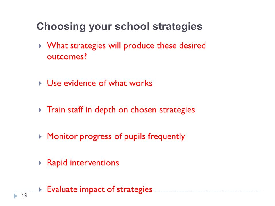 Choosing your school strategies  What strategies will produce these desired outcomes?  Use evidence of what works  Train staff in depth on chosen s