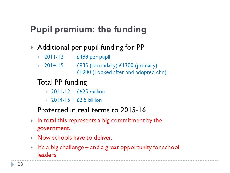 Pupil premium: the funding  Additional per pupil funding for PP  2011-12£488 per pupil  2014-15£935 (secondary) £1300 (primary) £1900 (Looked after and adopted chn) Total PP funding  2011-12£625 million  2014-15£2.5 billion Protected in real terms to 2015-16  In total this represents a big commitment by the government.