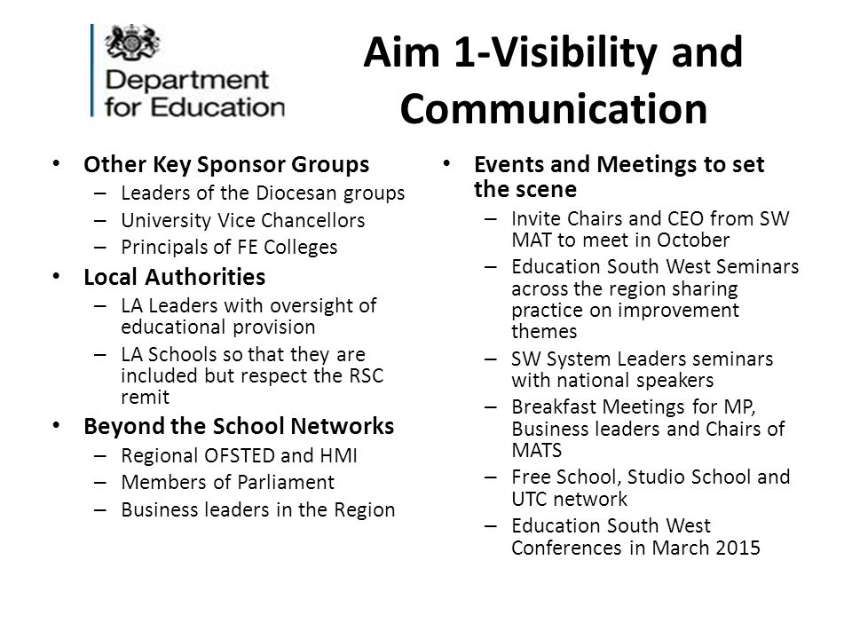 Aim 1-Visibility and Communication Other Key Sponsor Groups – Leaders of the Diocesan groups – University Vice Chancellors – Principals of FE Colleges