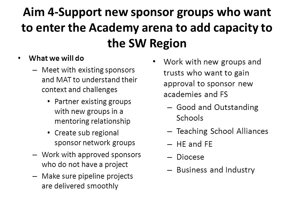 Aim 4-Support new sponsor groups who want to enter the Academy arena to add capacity to the SW Region What we will do – Meet with existing sponsors and MAT to understand their context and challenges Partner existing groups with new groups in a mentoring relationship Create sub regional sponsor network groups – Work with approved sponsors who do not have a project – Make sure pipeline projects are delivered smoothly Work with new groups and trusts who want to gain approval to sponsor new academies and FS – Good and Outstanding Schools – Teaching School Alliances – HE and FE – Diocese – Business and Industry