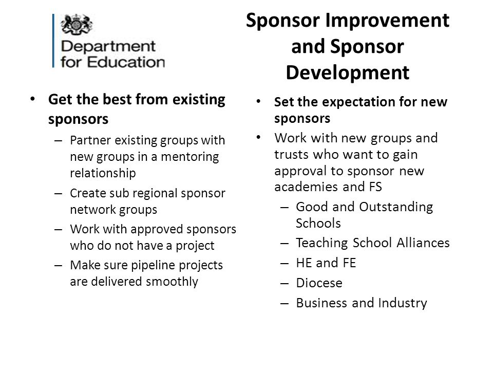 Sponsor Improvement and Sponsor Development Get the best from existing sponsors – Partner existing groups with new groups in a mentoring relationship – Create sub regional sponsor network groups – Work with approved sponsors who do not have a project – Make sure pipeline projects are delivered smoothly Set the expectation for new sponsors Work with new groups and trusts who want to gain approval to sponsor new academies and FS – Good and Outstanding Schools – Teaching School Alliances – HE and FE – Diocese – Business and Industry