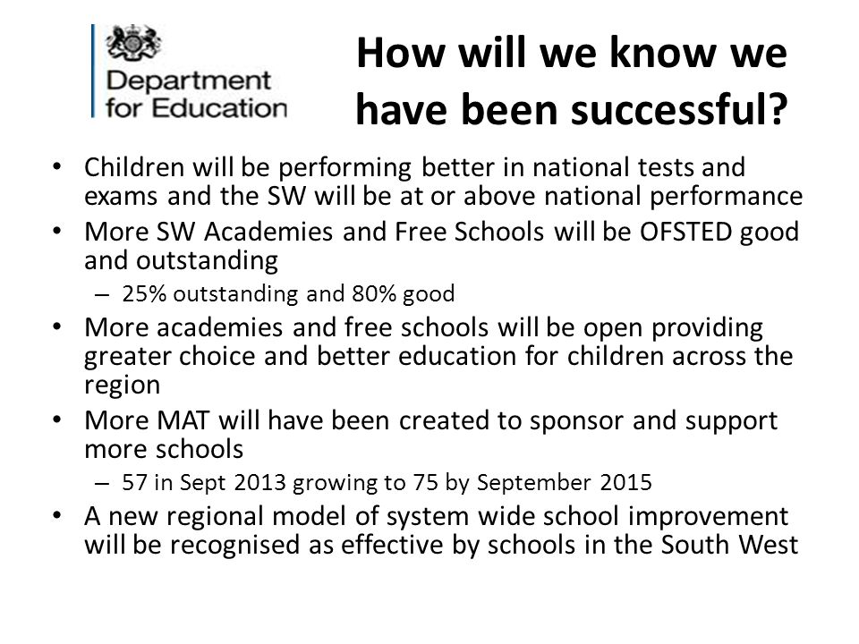How will we know we have been successful? Children will be performing better in national tests and exams and the SW will be at or above national perfo