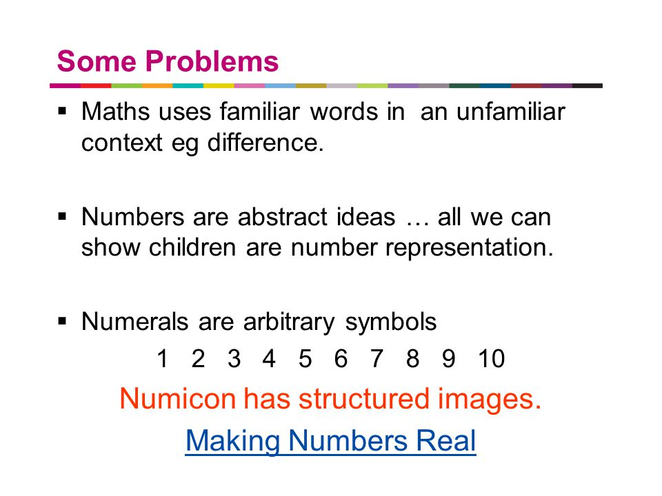a better place to live Some Problems  Maths uses familiar words in an unfamiliar context eg difference.  Numbers are abstract ideas … all we can sho
