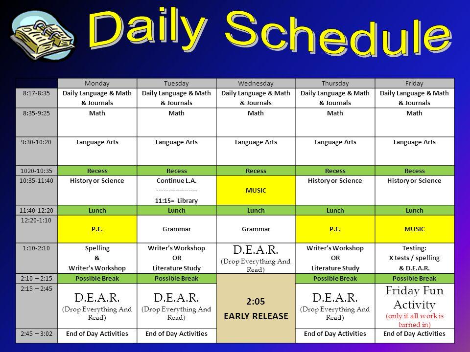 MondayTuesdayWednesdayThursdayFriday 8:17-8:35 Daily Language & Math & Journals 8:35-9:25Math 9:30-10:20Language Arts 1020-10:35Recess 10:35-11:40Hist