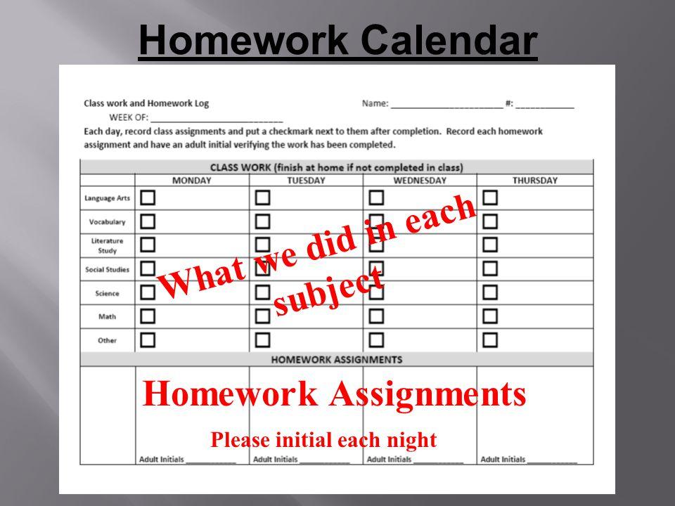 Homework Calendar What we did in each subject Homework Assignments Please initial each night