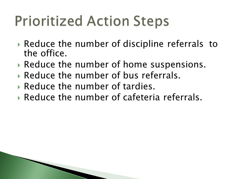  Reduce the number of discipline referrals to the office.