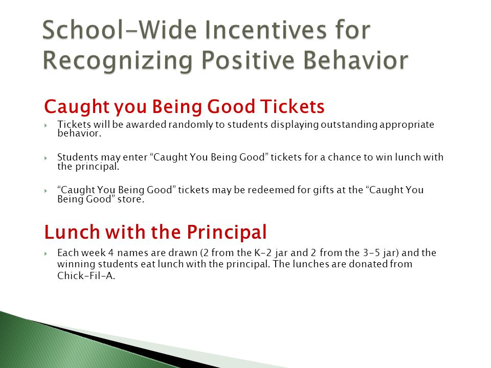 Caught you Being Good Tickets  Tickets will be awarded randomly to students displaying outstanding appropriate behavior.