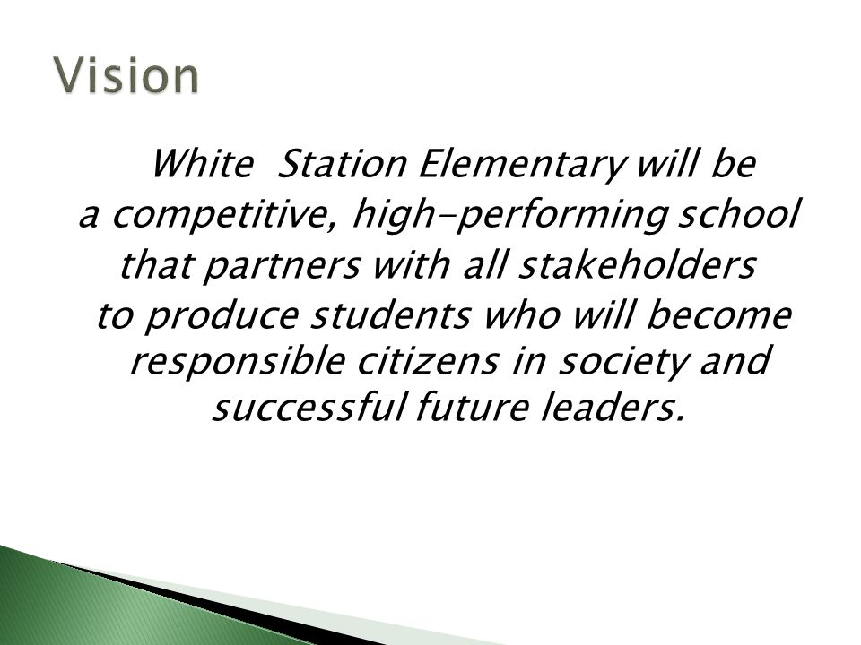 White Station Elementary will be a competitive, high-performing school that partners with all stakeholders to produce students who will become responsible citizens in society and successful future leaders.