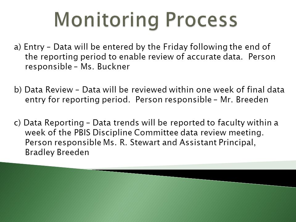 a) Entry – Data will be entered by the Friday following the end of the reporting period to enable review of accurate data.
